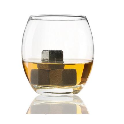 Whiskey rocks in glass of whiskey
