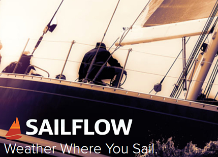 Sailflow logo over boater